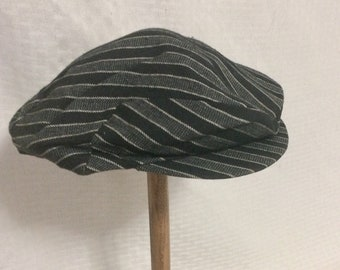 1950s Vintage Ivy League Newsboy Cap or Hat by Adam Black and Gray Stripes 7 ed6634a13b64