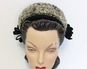 1940s Vintage Black Felt Pillbox Hat with Gray Curly Lamb and Jeweled Studs by New York Creation, 40s Women 39 s Clothing, WWII Era Pin Up Glam