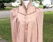 Victorian Antique 1880s Pink Striped Bustle Cape, 1800s Vintage Women 39 s Clothing, Taffeta Puffy Sleeved Mantle, Steam Punk, Bustle Era