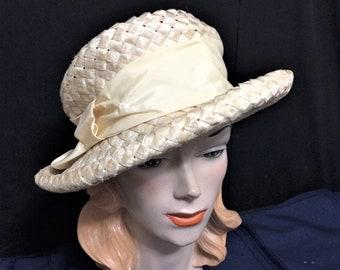 1960s Vintage Cream Cellophane Straw Wide Brim Hat By Michelle ec0fbc7f1eb5
