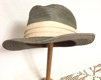 b272308c3fc3d 40s 50s Gray Straw Fedora Hat By Adam Size 7