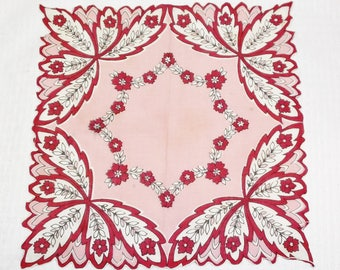 30s 40s Vintage Pink and Fuchsia Novelty Floral Print Cotton Hankie