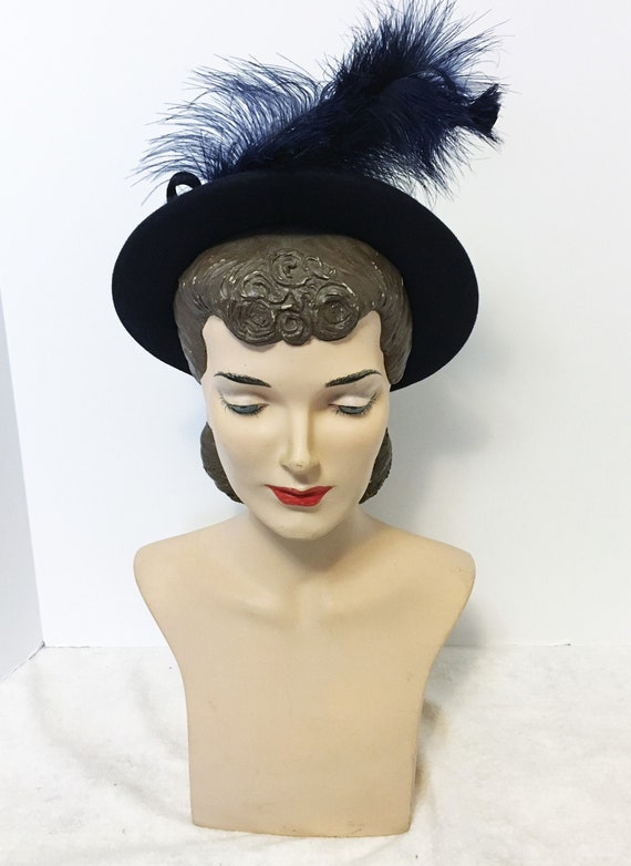 40s 50s Vintage Blue Felt Hat with Feathers and Bo