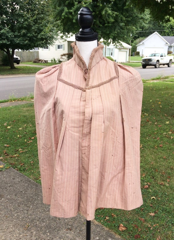 Victorian Antique 1880s Pink Striped Bustle Cape,