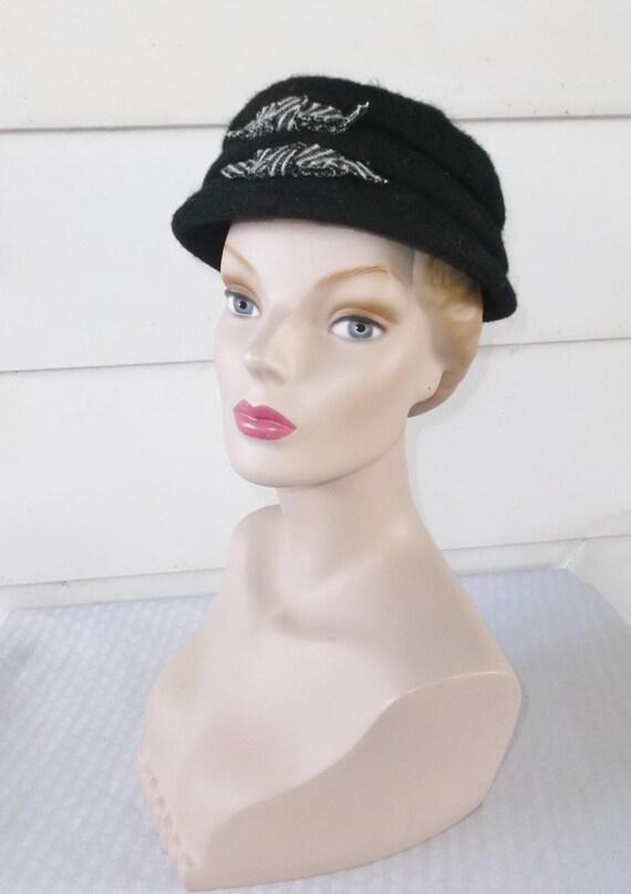 939680cc24d 1950s Vintage Shag Felt Hat with Bows | Etsy