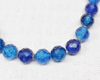 50s 60s Vintage Blue Faceted Beaded Necklace Western Germany