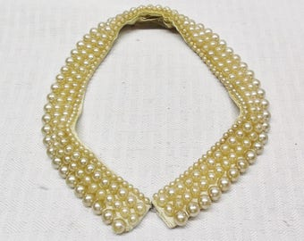 50s 60s Vintage Faux Pearl Collar by Miranda Made in Japan