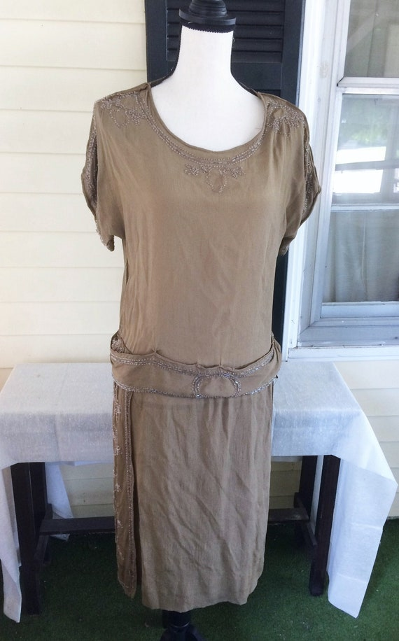 1920s Vintage Olive Green Silk Crepe Beaded Flappe