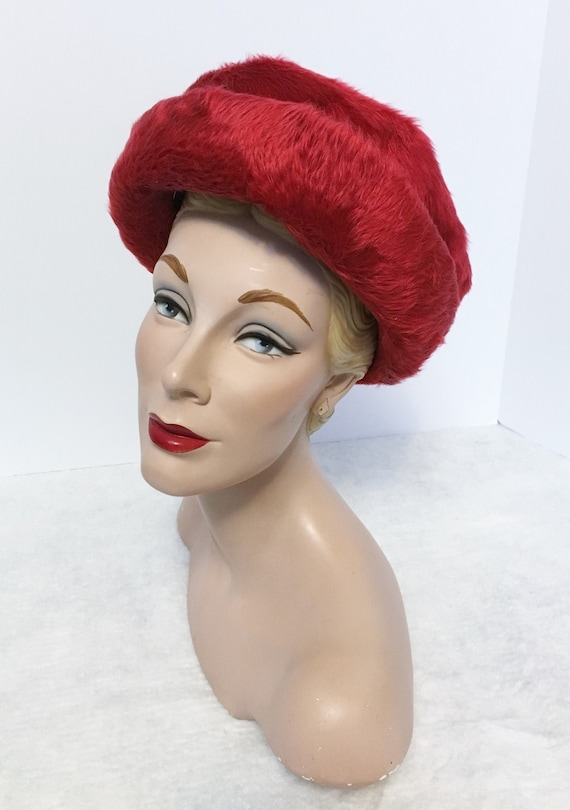 1950s Vintage Christian Dior Couture Hat, Red Fur