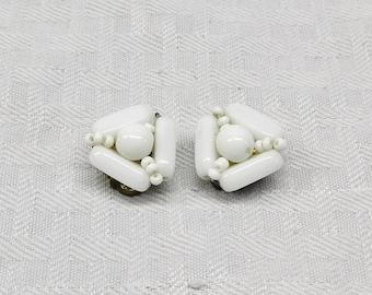 1950s Vintage Beaded Milk Glass Cluster Earrings Clip On Style