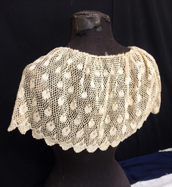 Antique Vintage Crocheted Lace Ecru Bertha Collar