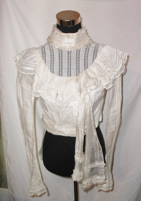 Antique Edwardian 1900 White Silk and Lace Bodice