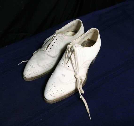 30s 40s Vintage Men's White Leather Brogues or Oxf