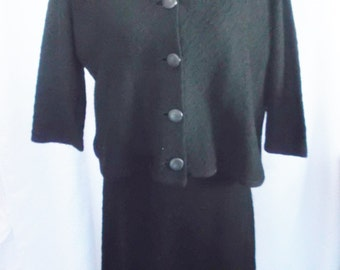Clearance 50's 60's Vintage Black Knit Dress and Jacket Combo Large XL Koldin Original 38-42 Bust