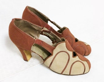 1930s Vintage Brown and Beige Art Deco Shoes Size 5 1/2B by Stepping In Style, 30s Women's Clothing, Accessories, Old Hollywood Glam