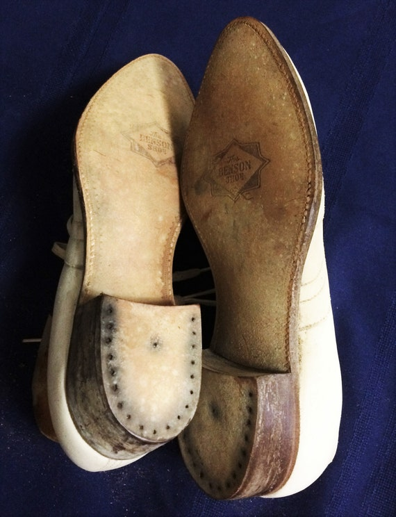 30s 40s Vintage Men's White Leather Brogues or Ox… - image 5
