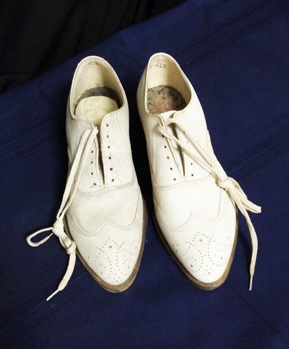 30s 40s Vintage Men's White Leather Brogues or Ox… - image 2