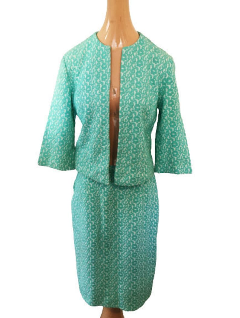 28 Inch Waist Turquoise Embroidered Knit by Aileen 36 Inch Hips Mid Century 1960s Vintage Skirt and Bolero Sweater Set 34 Inch Bust