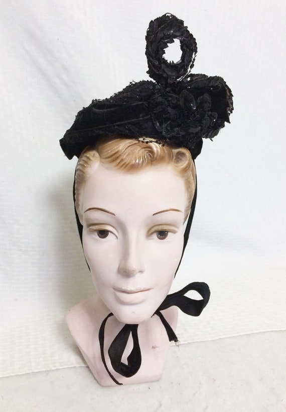 Victorian 1890s Black Sequinned Bonnet Hat with Lo