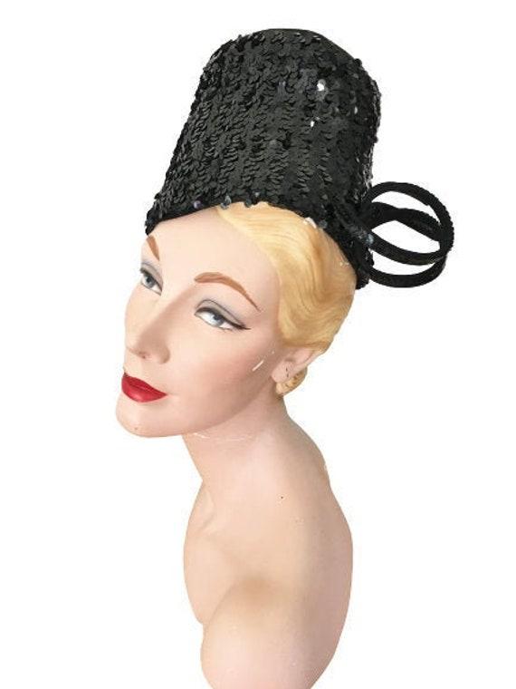 Mid 1940s Vintage Black Felt Hat with Sequins, Tow