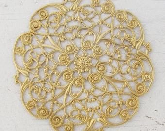 Raw Brass Large Round Filigree Findings 1518 x2