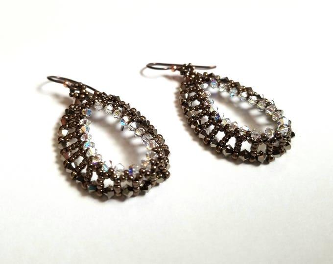 Sparkling Earth Bead Woven Earrings