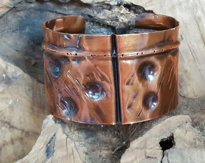 Artisan jewelry fold form copper cuff