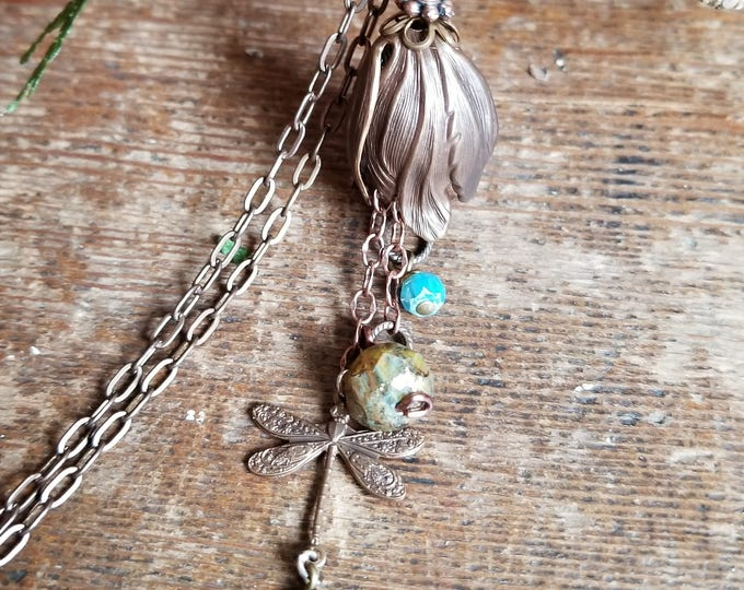 Dragonfly Bliss Natural Brass Necklace