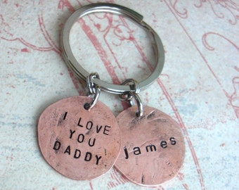 Penny Charm Keychain. Up to 6 words stamped. modern day worry stone. hammered U.S.coin w/custom phrase, date, name. Fathers Day Gift for men