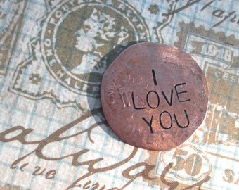 Engraved Copper Lucky Penny. I LOVE YOU. 1 Coin, includes 4 words. Hammered Penny Nickel Dime. Hand Stamped Custom date name family wedding