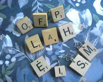 Scrabble Tile Jewelry - Wholesale Lot - Rings Pins Pendants - letters O F P L A H E I S M -game wood adjustable silver clearance sale coupon