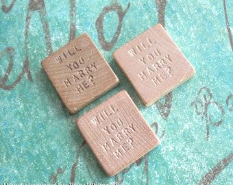 Will You Marry Me? .. Vintage Blank Scrabble Tile .. Hand stamped by Tipsy Whimsey .. Awesome unique marriage proposal .. engraved keepsake