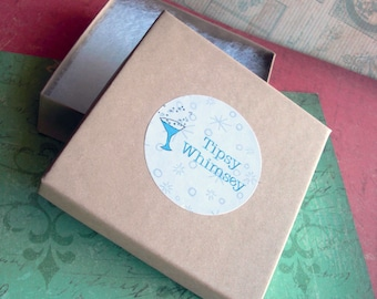 Add a gift box to your order with Tipsy Whimsey .. square kraft jewelry box with logo