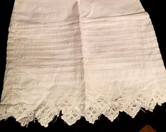 Pre Civil War Antique Doll Slip/Gown  Hand Made Ayrshire Lace Embroidered Lace 1850s Doll Clothes