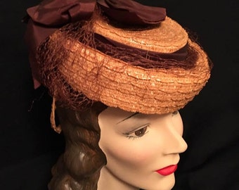 Vintage Early 1940s Straw Forward Tilt Hat Women's Original 40s Straw with Brown Bows circa 1943