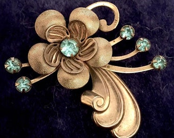 Vintage 1940s Retro Flower Brooch Pin 40s Silver Tone with Blue Rhinestones Floral Theme