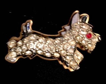 Vintage 1930s Scottie Dog Brooch Pin 30s Animal Brooch Marcasite with Rhinestones and Enamel on Copper Brass Metal