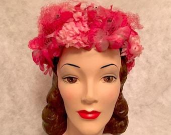 Vintage 1950s 1960s Pink Flower Half Hat Womens 50s 60s Cocktail Hat Mid Century Accessories Pink Floral Theme Silk Flowers