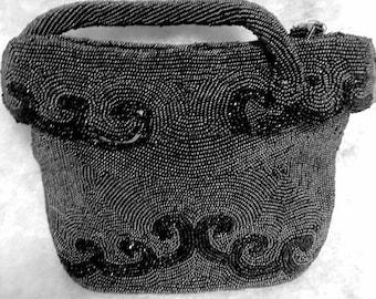 Vintage 1930's Hand Made Black Beaded Evening Purse – Belgium 30s Art Deco Evening Bag Glass Beaded Hand Bag