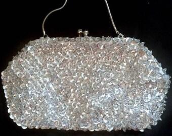 Vintage 1960s Evening Purse Sequins Purse Handbag 60s Evening Bag with Bling Mid Century