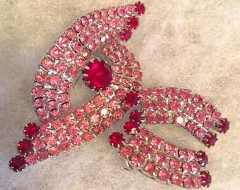 Vintage 1950s 1960s Pink Red Rhinestone Brooch Earrings Set 50s 60s Clip On Earrings Demi Parure Jewelry Set Silver Tone Metal