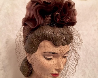 Vintage 1940s Brown Turban Hat New York Creation Hat with Veiling 40s WWII Era Tailored Hat