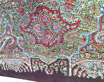 Antique Civil War or before Paisley Shawl 1850s 1860s . Victorian Hand Woven Hand Tied Fringe Throw Wool Mix Red Green Paisley Print 1800s