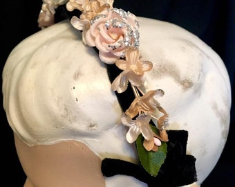 Vintage 1960s Evening HEADBAND HAT 60s Head Band with Pink Roses and Flowers Silver Sprinkles Original Vintage