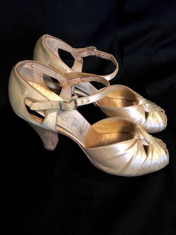 1930 Chaussures Satin Des 3 Soie Ivoire Talon Soirée 12 Années Haut ad1qa