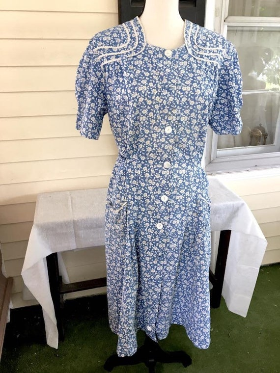 Vintage 1930s Blue Calico Print Day Dress Exra Lar