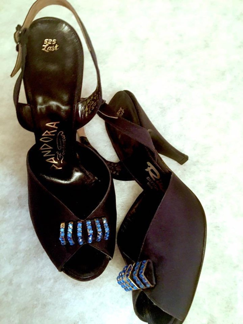 6c075381a06 Vintage 1950s High Heel NOS Sling Back Open Toe Shoes 50s