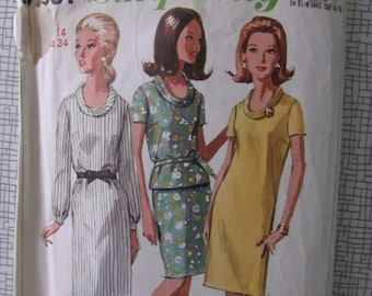 """1966 Dress, Top & Skirt - 34"""" Bust - Simplicity 6861 - Vintage Retro 1960s Sewing Pattern"""