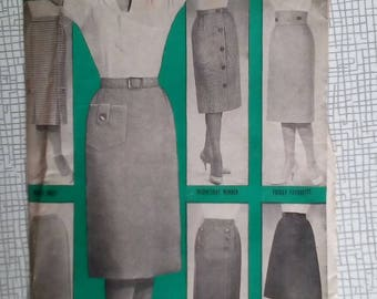 "1960s 7 One-Yard Skirts - 26"" Waist - Reveille No. 67 - Vintage Retro Sewing Pattern"