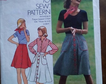 "1974 Skirt - 30"" Waist - Simplicity 6778 - Vintage Sewing Pattern"